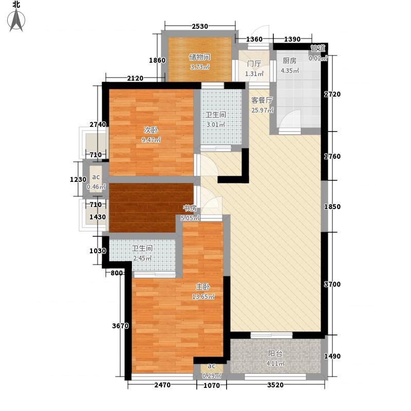 东海湾御文阁112.00㎡B1户型2室2厅2卫1厨