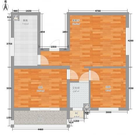 荣泰尚都2室1厅1卫1厨88.00㎡户型图