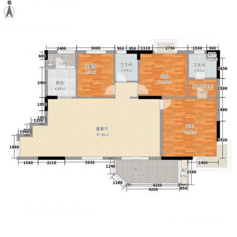 联华花园城二期3室1厅2卫1厨132.00㎡户型图