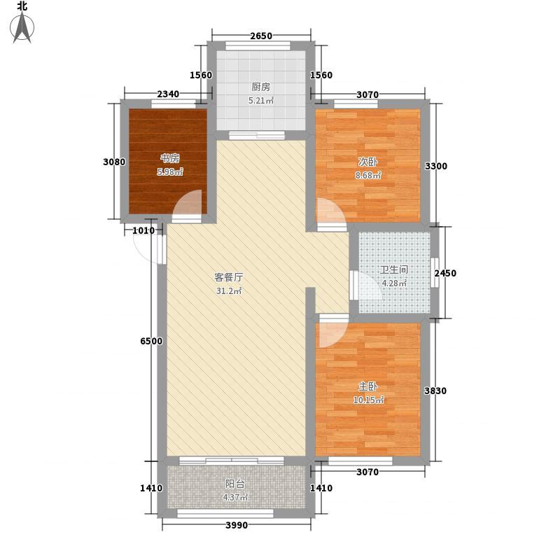 国秀家园86.00㎡SCd户型3室2厅1卫1厨