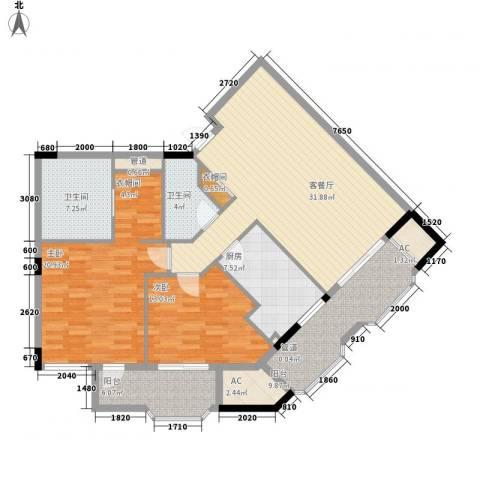 丁香公馆2室1厅2卫1厨147.00㎡户型图