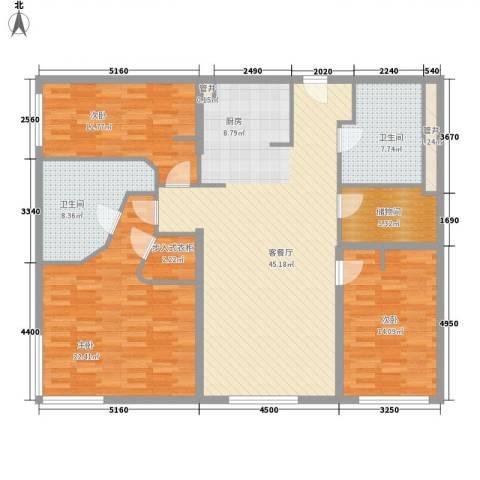 新地国际公寓苏寓3室1厅2卫0厨166.00㎡户型图