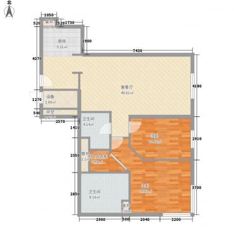 新地国际公寓苏寓2室1厅2卫0厨124.00㎡户型图