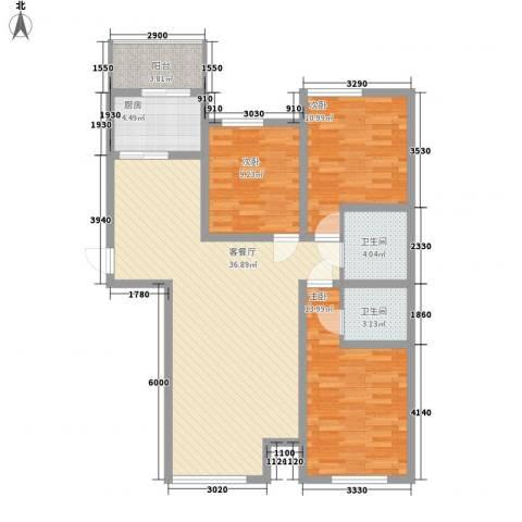 尚城国际3室1厅2卫1厨124.00㎡户型图
