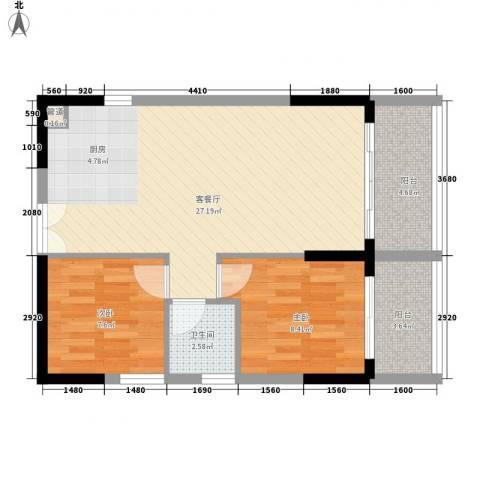 人民大厦2室1厅1卫0厨77.00㎡户型图