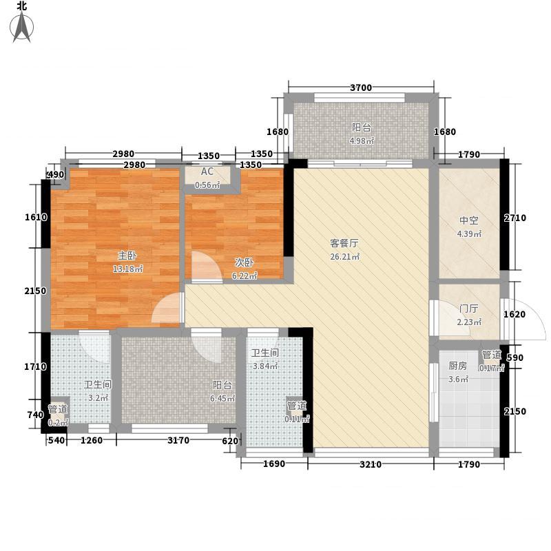 万荟玖珑87.00㎡2栋01单元户型3室2厅2卫1厨