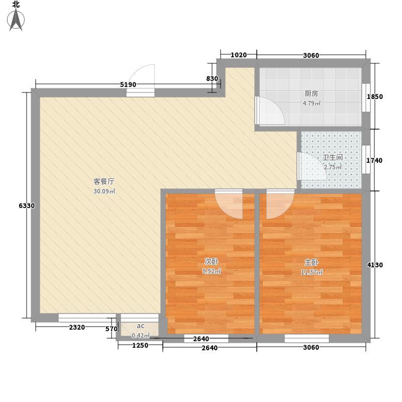 国秀家园76.15㎡A3户型2室2厅1卫1厨