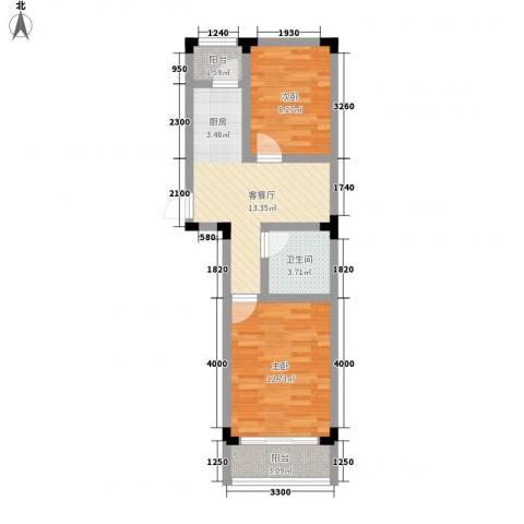 阳光嘉年华尚城2室1厅1卫0厨64.00㎡户型图