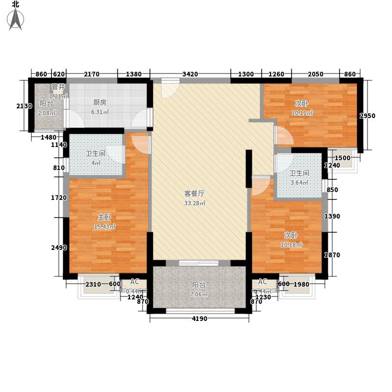 华强城公园1号133.00㎡公园1号72#楼D2'户型3室2厅2卫1厨