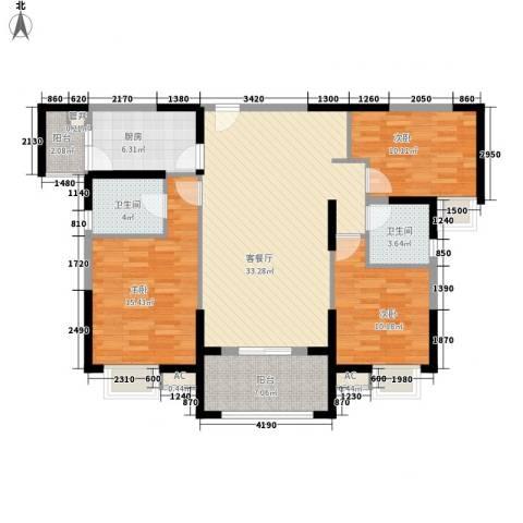 华强城公园1号3室1厅2卫1厨106.00㎡户型图