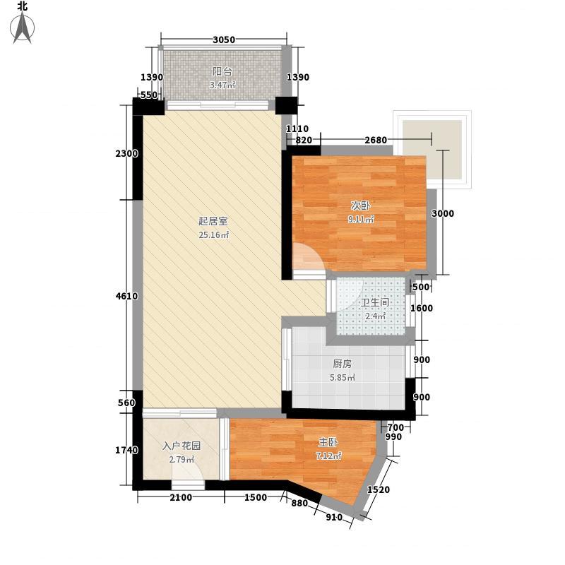 上品花园67.00㎡02单位偶数层户型1室2厅1卫