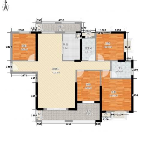 华强城公园1号4室1厅2卫1厨131.00㎡户型图