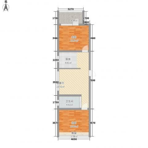 龙城御苑2室1厅1卫0厨65.00㎡户型图