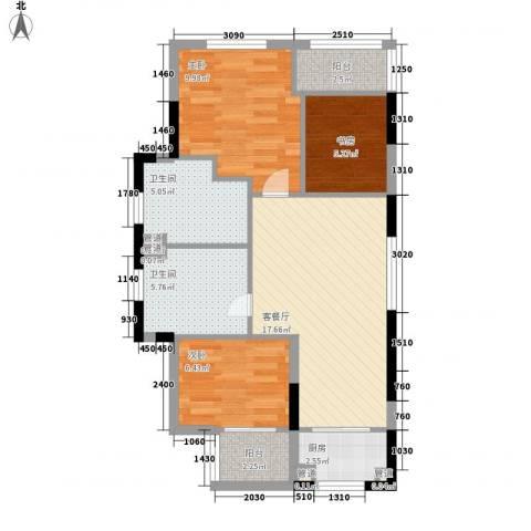 保亭庄园丽都3室1厅2卫1厨83.00㎡户型图