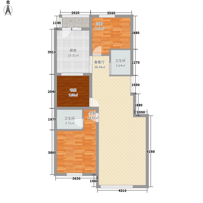 龙城御苑12.47㎡B3户型3室2厅1卫1厨