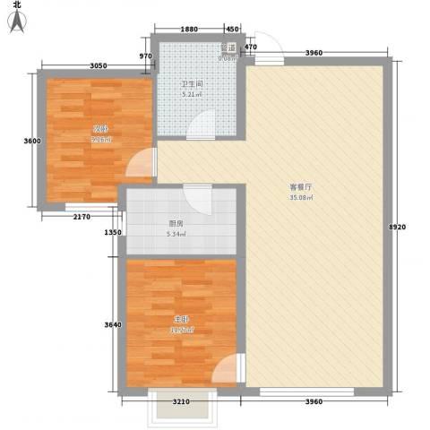 融域1342室1厅1卫1厨65.14㎡户型图