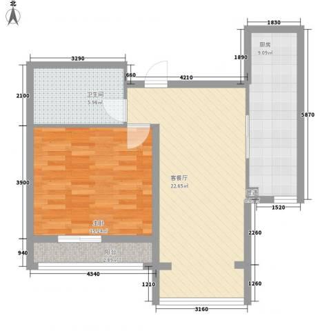 尚城国际1室1厅1卫1厨80.00㎡户型图