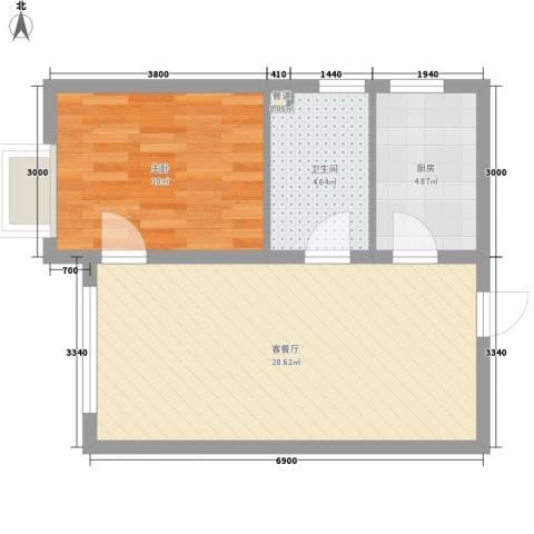 融域1341室1厅1卫1厨40.20㎡户型图