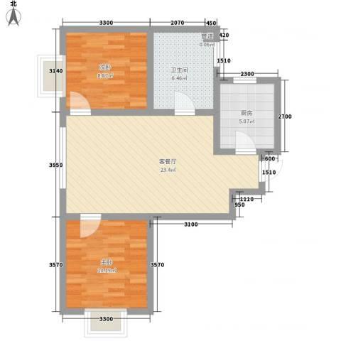 融域1342室1厅1卫1厨54.06㎡户型图