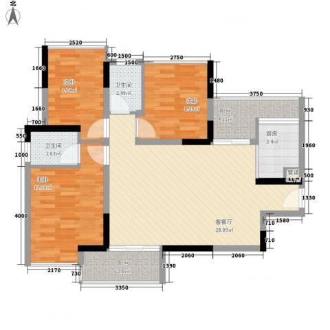 鸿泰八零3室1厅2卫1厨104.00㎡户型图