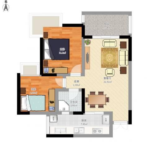 和泓南山道2室1厅1卫1厨85.00㎡户型图