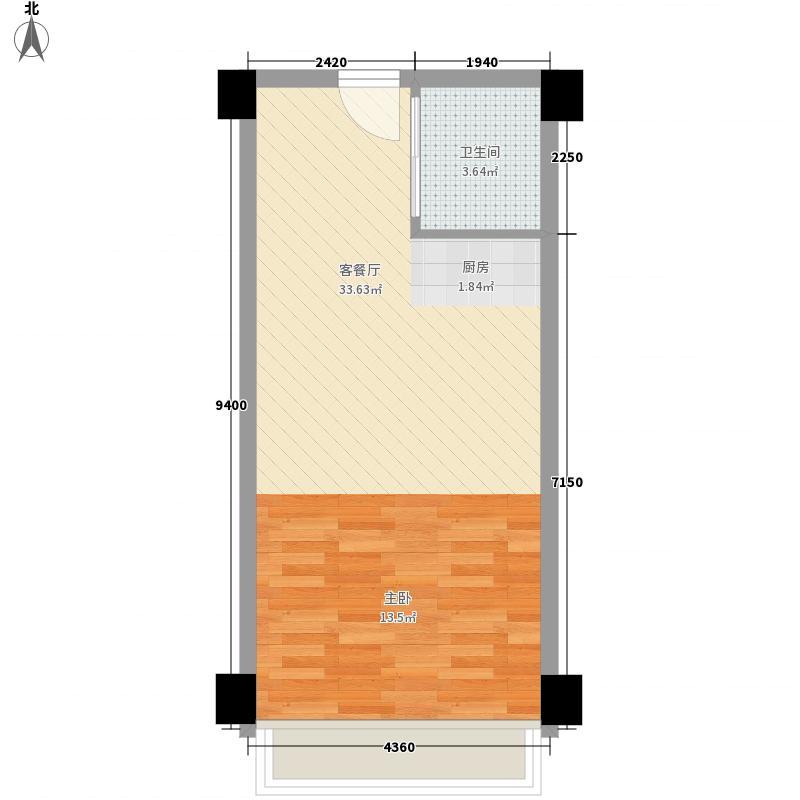 瑞腾优卡空间5.00㎡A1户型1室1厅1卫1厨