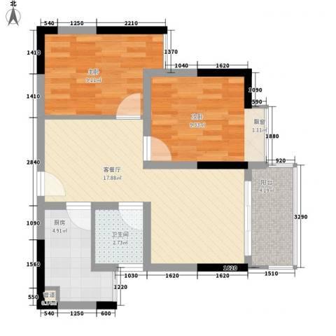鸿泰八零2室1厅1卫1厨70.00㎡户型图