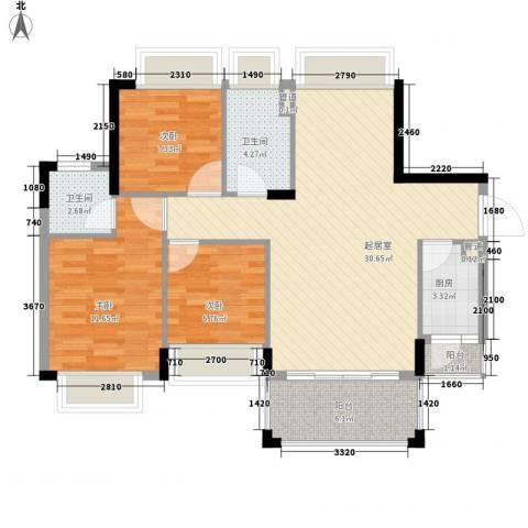 雍景家园3室0厅2卫1厨96.00㎡户型图