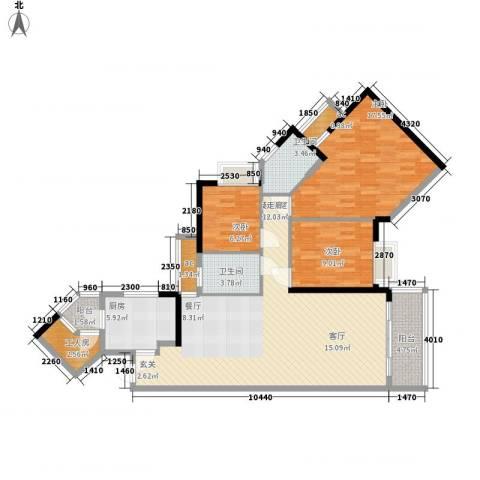 恒安大厦3室0厅2卫1厨135.00㎡户型图