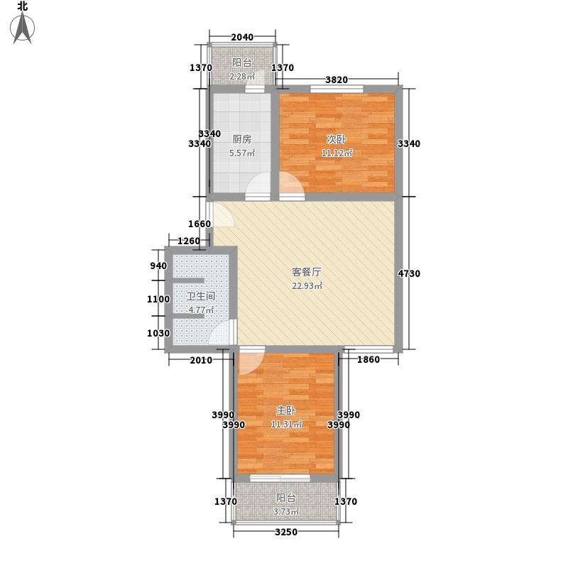 天泰新景温泉1.57㎡小区温馨二居户型2室2厅1卫1厨