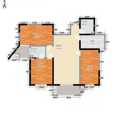 未央湖畔3室0厅2卫1厨130.00㎡户型图