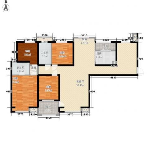 唐园新苑4室1厅2卫1厨158.00㎡户型图