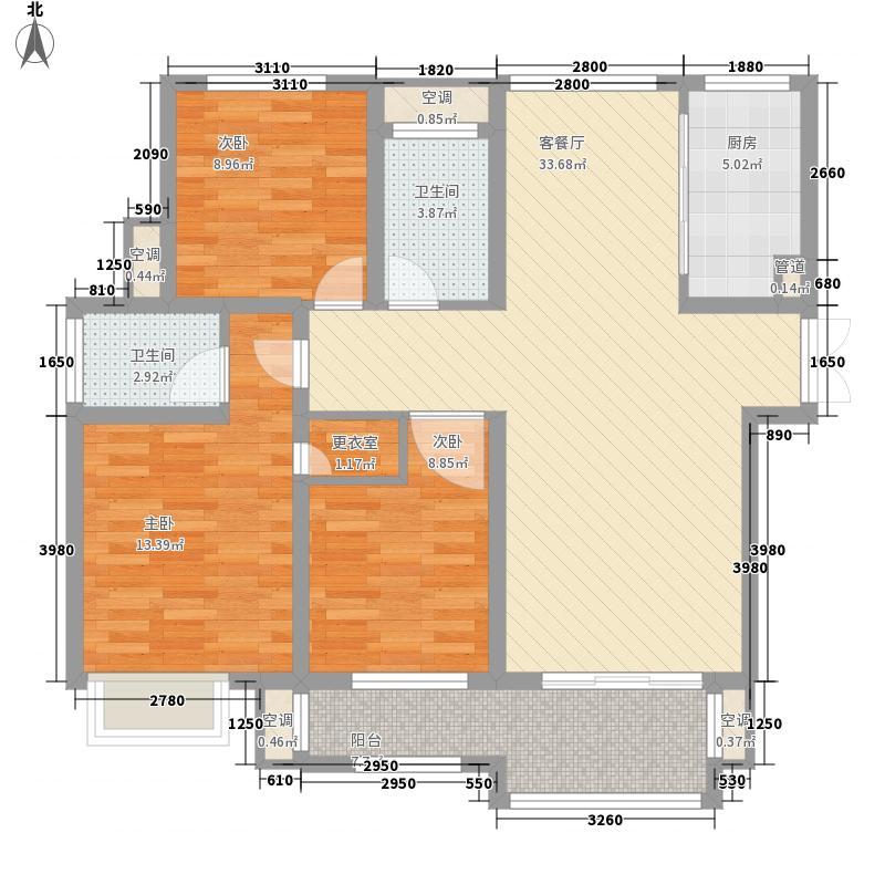 公园一号128.00㎡WG17户型3室2厅2卫