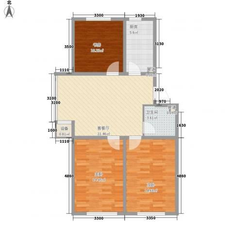 昊景家园3室1厅1卫1厨91.00㎡户型图