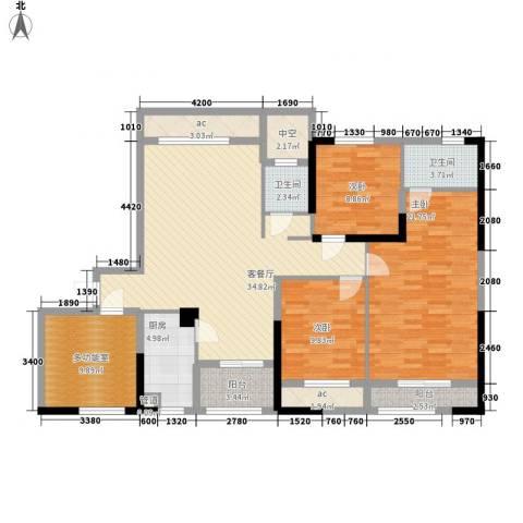 中航山水蓝天3室1厅2卫1厨158.00㎡户型图