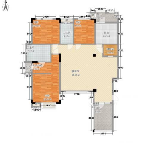 万科劲嘉金域华府3室1厅2卫1厨138.00㎡户型图