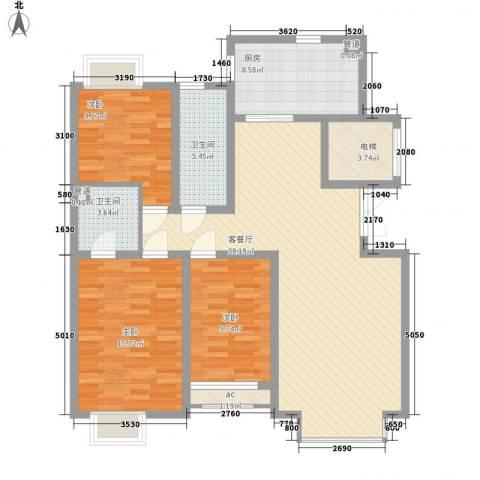 豪绅嘉苑3室1厅2卫1厨135.00㎡户型图