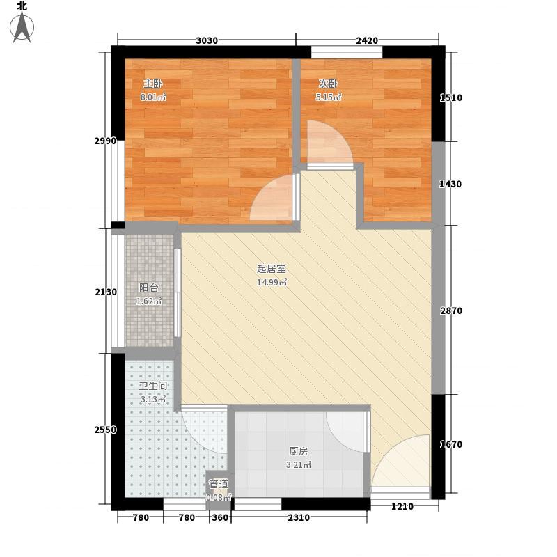 七街公馆53.08㎡七街公馆户型图单栋B03型户型图2室2厅1卫1厨户型2室2厅1卫1厨