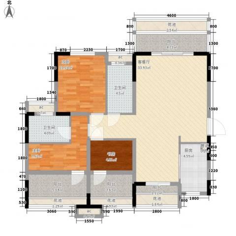 万科劲嘉金域华府3室1厅2卫1厨106.00㎡户型图
