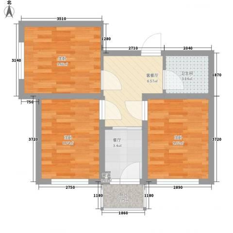 果园星城3室2厅1卫0厨62.00㎡户型图