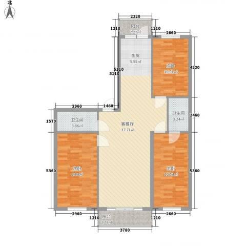 果园星城3室1厅2卫0厨98.00㎡户型图