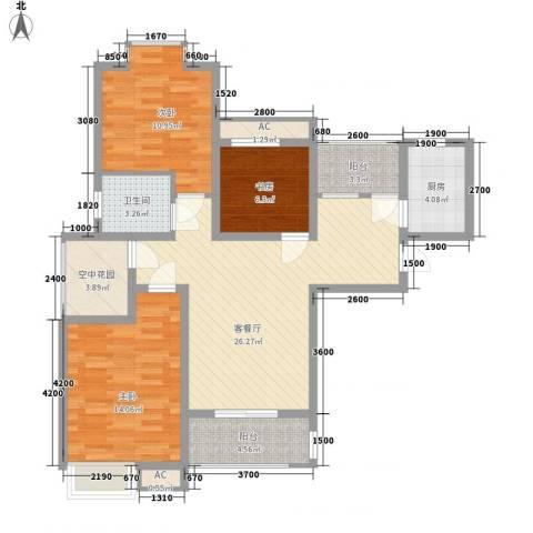 东方明珠嘉苑3室1厅1卫1厨115.00㎡户型图
