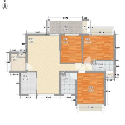 理想0769沁园3室1厅2卫1厨112.00㎡户型图