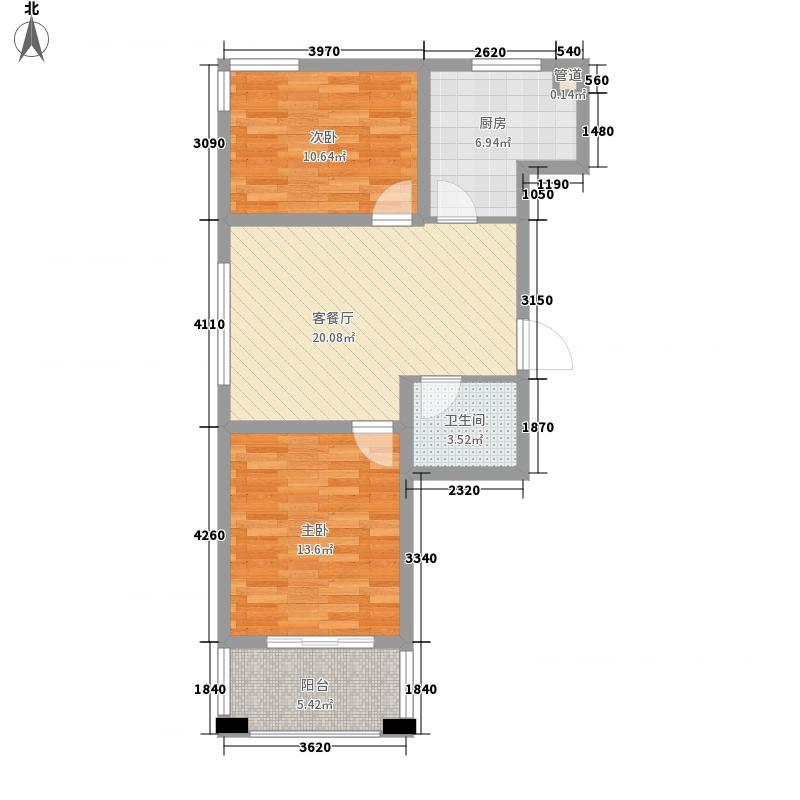 广泰瑞景城86.77㎡二期3#B1户型2室2厅1卫1厨