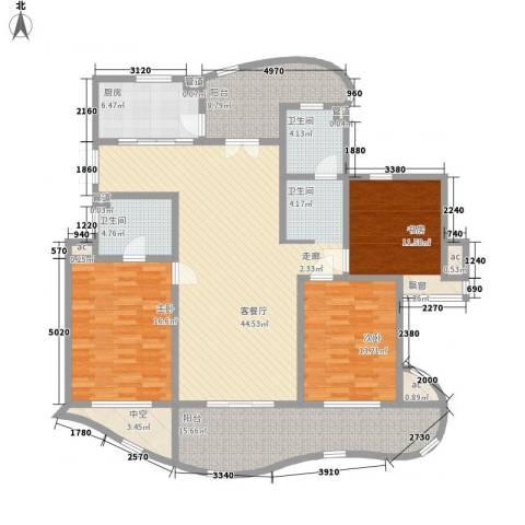 城市经典四期高迪3室1厅2卫1厨150.57㎡户型图