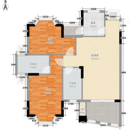 阳光海岸2室0厅2卫1厨111.00㎡户型图
