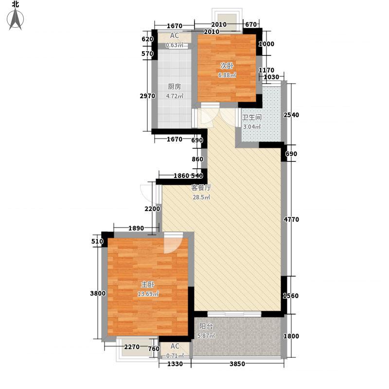 左邻右里89.00㎡E户型2室2厅1卫1厨