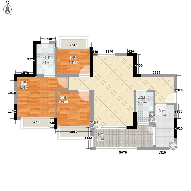 中泰天境12.60㎡A1A2A3A4A5A6A7座D户型3室2厅2卫1厨