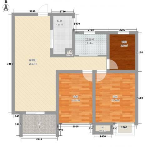 天润国际花园3室1厅1卫1厨103.00㎡户型图