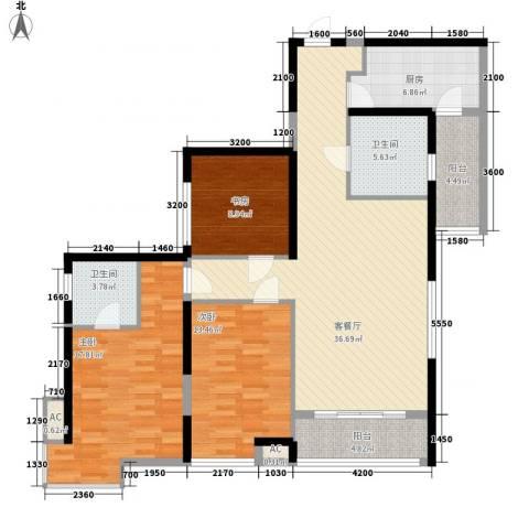 东泰城市之光3室1厅2卫1厨135.00㎡户型图